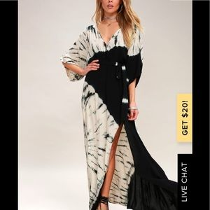 Lulus Needed Me Black Tye-Dye Maxi Dress